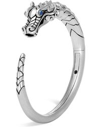 John Hardy - Sterling Silver Legends Naga Small Kick Cuff With Sapphire Eyes - Lyst