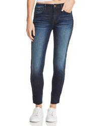 Aqua - Braided-trim Skinny Jeans In Dark Wash - Lyst