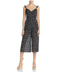 Re:named - Cropped Wide-leg Floral Jumpsuit - Lyst