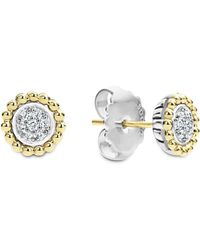 Lagos - 18k Gold And Diamond Caviar Stud Earrings - Lyst