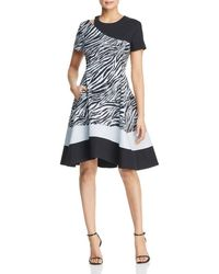 Donna Karan - New York Paneled Zebra Cutout Dress - Lyst