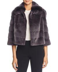 Maximilian - Plucked Mink Fur Bolero With Chinchilla Fur Trim - Lyst