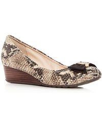 Cole Haan - Women's Tali Snake-embossed Leather Demi-wedge Court Shoes - Lyst