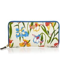 Tory Burch - Printed Floral Continental Leather Wallet - Lyst