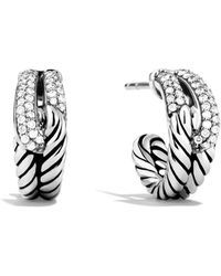 David Yurman - Labyrinth Single-loop Earrings With Diamonds - Lyst