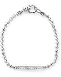 Lagos - Sterling Silver Caviar Spark Diamond Bar Chain Bracelet - Lyst
