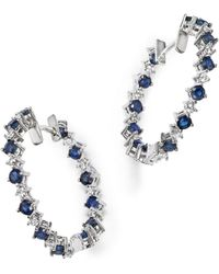 Bloomingdale's - Diamond And Blue Sapphire Inside-out Hoop Earrings In 14k White Gold - Lyst