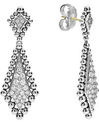 Lagos - Sterling Silver Caviar Spark Diamond Drop Earrings - Lyst