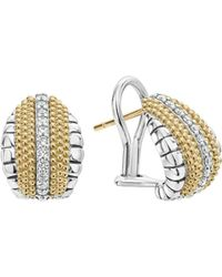 Lagos - 18k Gold And Sterling Silver Diamond Lux Pear Huggie Earrings - Lyst