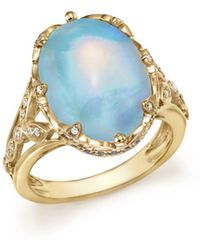 Bloomingdale's Oval Opal Statement Ring With Diamond And Sapphire In 14k Yellow Gold - Metallic