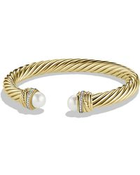 David Yurman - Pearl Crossover Bracelet With Pearls And Diamonds In Gold - Lyst