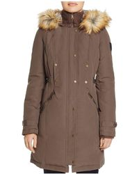 Vince Camuto | Side Belted Faux Fur Trim Anorak | Lyst
