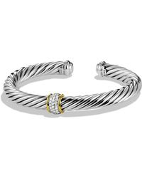 David Yurman - Cable Classics Bracelet With Diamonds And Gold - Lyst