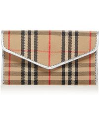 03757f9284e1 Burberry - 1983 Check And Leather Envelope Card Case - Lyst