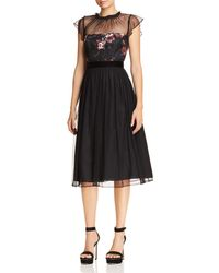 Adrianna Papell - Floral Print & Dot Tulle Flare Dress - Lyst