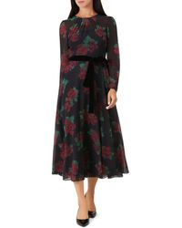Hobbs - Lolita Rose Print Midi Dress - Lyst