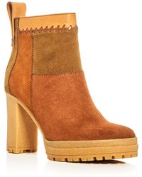 See By Chloé - Polina Patchwork High Heel Platform Booties - Lyst