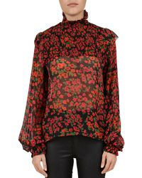 ab83530c314b23 The Kooples - Smocked Floral-print Silk Blouse - Lyst