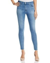 AG Jeans - Farrah Raw Hem Skinny Ankle Jeans In Ceased Wind - Lyst
