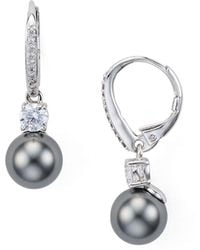 Nadri | Cubic Swarovski Pearl Drop Earrings | Lyst