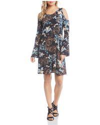 Karen Kane - Floral-print Cold-shoulder Dress - Lyst