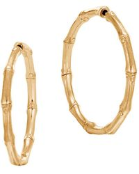 John Hardy | 18k Yellow Gold Bamboo Medium Hoop Earrings | Lyst