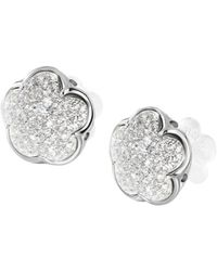 Pasquale Bruni - 18k White Gold Pavé Diamond Floral Stud Earrings - Lyst