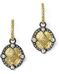 Armenta - 18k Yellow Gold And Blackened Sterling Silver Old World Diamond Oval Shield Drop Earrings - Lyst