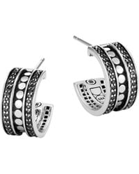 John Hardy | Sterling Silver Dot Small Hoop Earrings With Black Spinel | Lyst