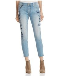 Aqua - Floral Skinny Crop Jeans In Medium Blue - Lyst
