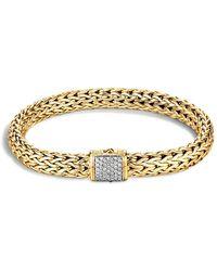 John Hardy - Classic Chain 18k Gold Medium Bracelet With Diamond Pavé - Lyst