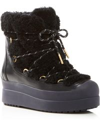 dd582e843b51 Tory Burch - Women s Courtney Round Toe Leather   Shearling Booties - Lyst