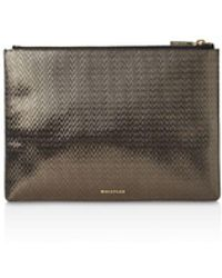 Whistles - Textured Medium Leather Clutch - Lyst