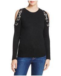 Aqua | Embellished Cold-shoulder Sweater | Lyst