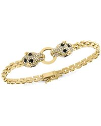 Bloomingdale's - Black & White Diamond Panther Bracelet In 14k Yellow Gold - Lyst