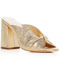 Loeffler Randall - Women's Laurel Leather Flared Block Heel Slide Sandals - Lyst