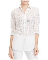 Ralph Lauren | Lauren Eyelet Button Down Shirt | Lyst