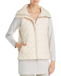 Eileen Fisher - Stand Collar Quilted Vest - Lyst