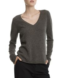 ATM - Heather Army Cashmere V-neck Jumper - Lyst