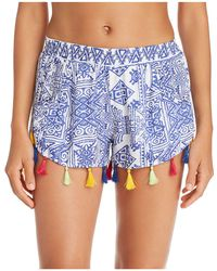 Surf Gypsy | Mykonos Print Tassel Detail Shorts Swim Cover-up | Lyst