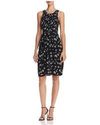 Aqua - Smocked Floral Print Dress - Lyst