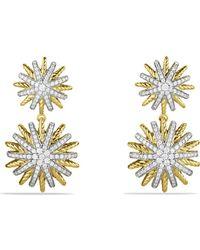 David Yurman | Starburst Double-drop Earrings With Diamonds In Gold | Lyst