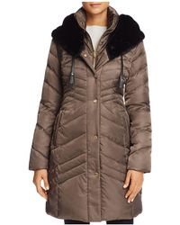 Via Spiga - Faux Fur Trim Pillow Collar Puffer Coat - Lyst