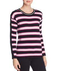 Minnie Rose - Button-sleeve Striped Cashmere Jumper - Lyst