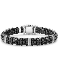 Lagos - Black Caviar Ceramic Bracelet With Sterling Silver And 3 Diamond Bars - Lyst