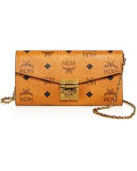 MCM - Patricia Visetos Large Wallet On A Chain Crossbody - Lyst