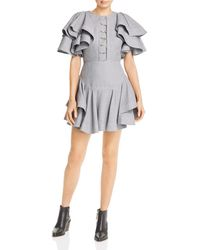 Acler Houndstooth Mini Dress - Gray