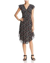 Aqua - Flounce-hem Floral Print Midi Dress - Lyst
