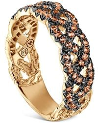 John Hardy - 18k Yellow Gold Braided Chain Ring With Orange Sapphire - Lyst