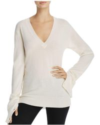Theory - V-neck Button-sleeve Cashmere Sweater - Lyst